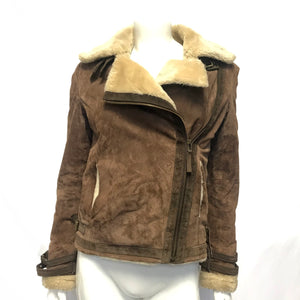 Karl Marc John Women's Sherpa Lined Leather Suede Jacket Brown Sz S-infinitote.com
