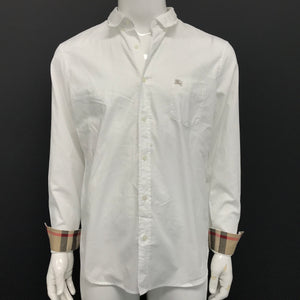 Burberry Brit 'Fred'Dress Shirt White Nova Check Cuffs Sz XL-infinitote.com