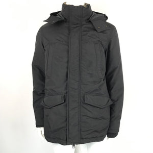 DANIER Men's Hooded Down Parka Coat Shearling Collar Black Sz M
