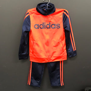 adidas Little Boys 3 Stripe Full Zip Jogger Track Suit Set Orange Blue Size 6-infinitote.com