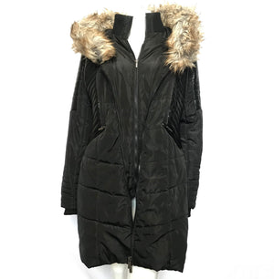 Suzy Shier Alta Women's Faux Leather and Fur Accented Coat Parka Black Sz L-infinitote.com