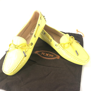 Tod's Women's Heaven Laccetto Patent Leather Moccasins Yellow Sz 39-infinitote.com