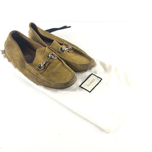 GUCCI Men's Horsebit Suede Driving Moccasins Loafers Beige Sz 9-infinitote.com
