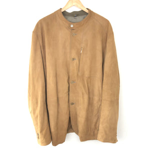 Bogner Men's Goat Leather Suede Jacket Moto Collar Beige Sz 48-infinitote.com