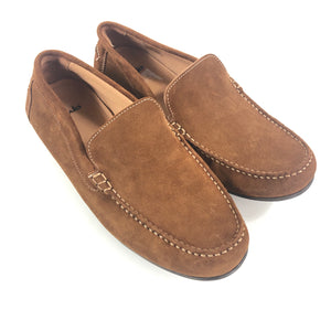 CLARKS Men's Grafton Loafer Moccasin Suede Cognac Brown Sz 10-infinitote.com