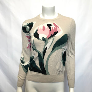 Burberry Floral Intarsia Merino Wool Women's Sweater - Sz S Beige-infinitote.com