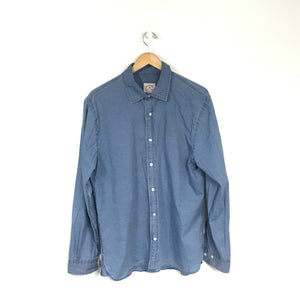 Brooks Brothers Men's Blue Long Sleeve Button Up Collar Shirt Sz L-infinitote.com