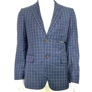 Comme des Garcons Men's Ultra Rare Deformed Blazer Jacket Blue Checks M-infinitote.com
