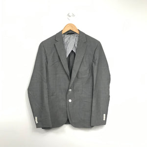 BOSS Hugo Boss Grey Virgin Wool Suit Jacket Sz 36R-infinitote.com