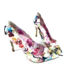 Truth Or Dare By Madonna Lele Flower Patent Printed Heels Shoes Sz 9-infinitote.com