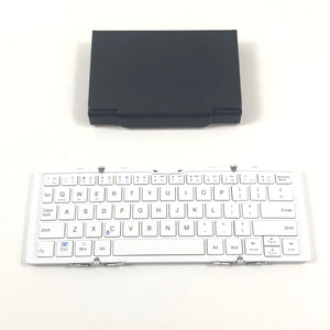 B.O.W. Folding Metal Silver Bluetooth Keyboard Windows iOS Android with Case-infinitote.com
