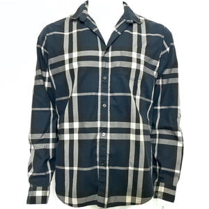 Burberry Brit Men's Giant Nova Check Buttoned Shirt Navy Blue Sz XL-infinitote.com