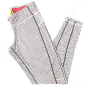 Lole Women's Patterned Full Length Leggings Gray White Swirls Sz M-infinitote.com