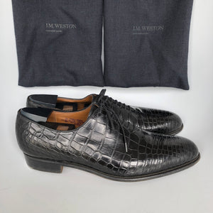 JM Weston Special Order 402 Men's One Cut Alligator Oxford Shoes Black 8.5-infinitote.com