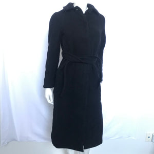 Aritzia Wilfred Women's Long Wool Cashmere Blend Belted Black Coat - Sz S-infinitote.com