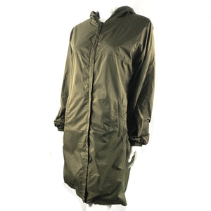 PRADA Women's Nylon Parka Windbreaker Rain Jacket Olive Green - Size Medium