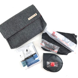 Air Canada Business Class Amenity Kit Travel Pouch Grey Tweed-infinitote.com