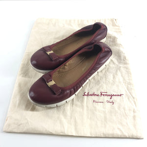 Salvatore Ferragamo Leather Flex Sole Ballerina Flats Burgundy Sz 6-infinitote.com