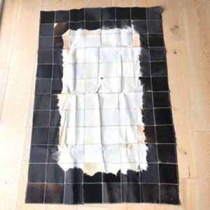 "Cowhide Rug 58"" x 38"" Patchwork Cowskin Leather Carpet Brown/White-infinitote.com"