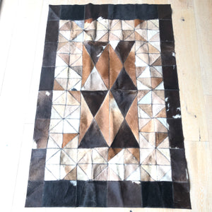"Cowhide Rug 56"" x 36"" Patchwork Cowskin Leather Carpet Brown-infinitote.com"