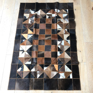 "Cowhide Rug 56"" x 36"" Patchwork Cowskin Leather Carpet White/Brown-infinitote.com"