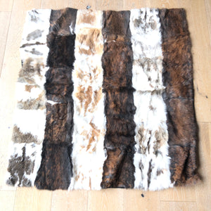 "Real Rabbit Fur Throw Blanket Rug 46"" x 44"" Carpet White/Brown-infinitote.com"