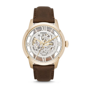 FOSSIL ME3043 Townsman Automatic Brown Leather Watch-infinitote.com