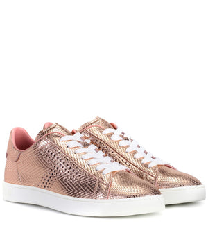 TOD'S Women's Metallic Leather Sneakers Rose Gold Sz 5.5