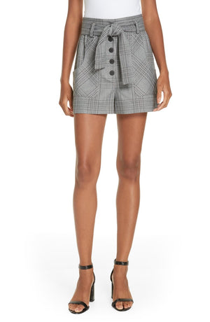 "MAJE Women's Iraime Belted Plaid Shorts Grey Sz 36 27"" Waist-infinitote.com"
