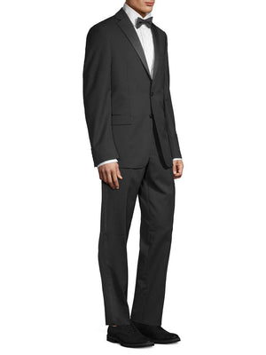 Calvin Klein Medallion Wool 2 Pc Suit + Pants Black 44R-infinitote.com