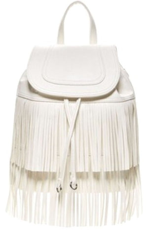 Carlos by Carlos Santana Francesca Backpack Fringe Purse White Faux Leather-infinitote.com