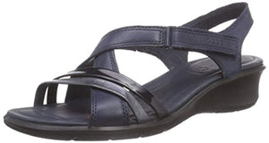 ECCO Women's Felicia Leather Strap Sandals Navy Blue Sz 5-infinitote.com