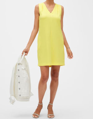 Banana Republic V-Neck Shoulder Pleat Shift Dress Yellow Sz 10-infinitote.com