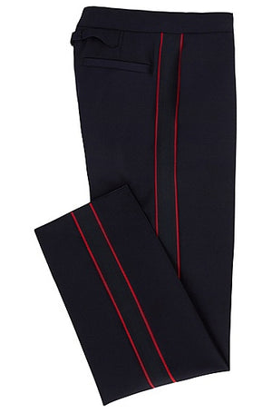 Hugo Boss Men's Catwalk Red Side Seam Wool Trousers Navy Blue Sz 34R-infinitote.com