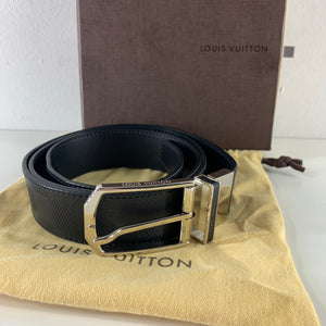 Louis Vuitton Damier Ebene Reversible Leather Belt Black M9906 Sz 105/42-infinitote.com