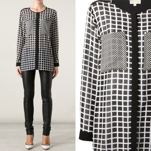 Michael Kors Women's White Black Checked Sheer Blouse 2XL-infinitote.com