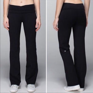 Lululemon Athletica Long Flare Black Leggings Pants Sz 8-infinitote.com