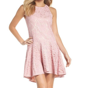 Eliza J Pink Sleeveless Drop Waist Lace Dress Light Pink Sz 4-infinitote.com
