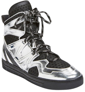 Marc By Marc Jacobs Men's Silver Ninja Leather High Top Sneakers Sz 36