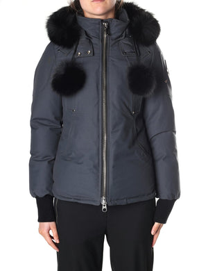 Moose Knuckles Womens 'Beaver' Down Jacket Fur Trim Coat Gray Sz XS-infinitote.com