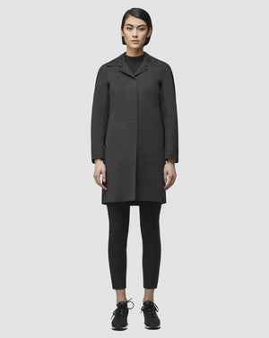 Rudsak Women's MOONI Mid-Length Coat Leather Collar Black Sz S-infinitote.com