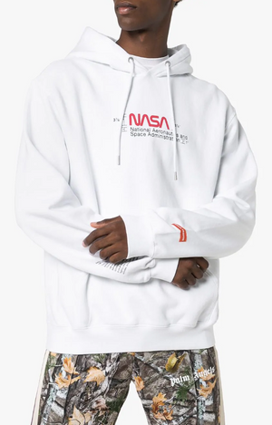 Heron Preston NASA White Manual Hoodie Sweatshirt Sweater Sz L-infinitote.com