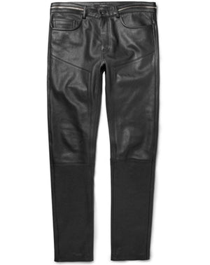 GIVENCHY Paris Lambskin Men's Leather Pants Trousers with Waist Zip Detail Size 33