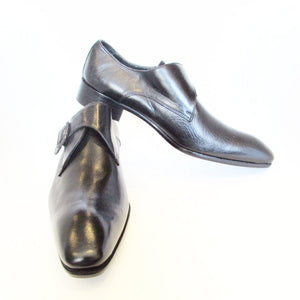 SERGIO CERRUTI Bespoke Black Leather Buckle Monk Dress Shoes Size US 10.5 / EUR 44