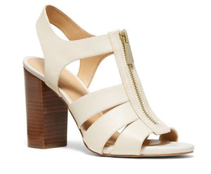 Michael Kors Damita Block Heel Leather Sandals Front Zip Beige Sz 8-infinitote.com