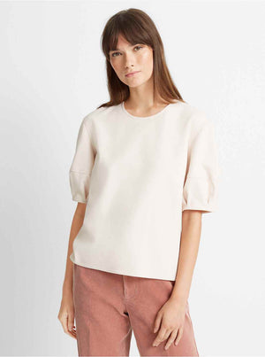 Club Monaco Women's Puff Balloon Sleeve Top Light Pink Beige Sz M-infinitote.com