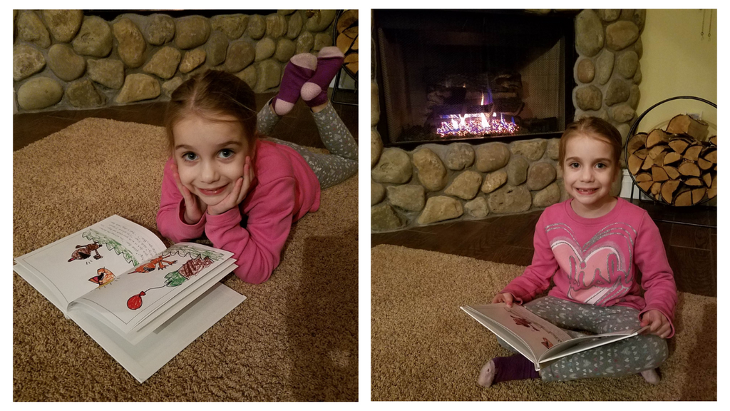 AOTM Hailee cozies up to the fire with a good book!