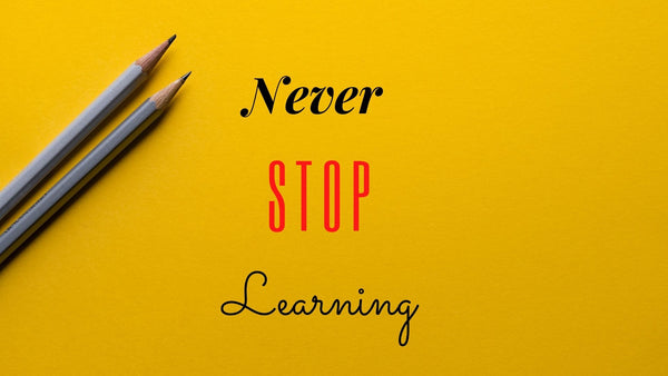 Never Stop Learning graphic with pencils