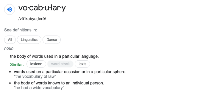 Vocabulary Definition from Google