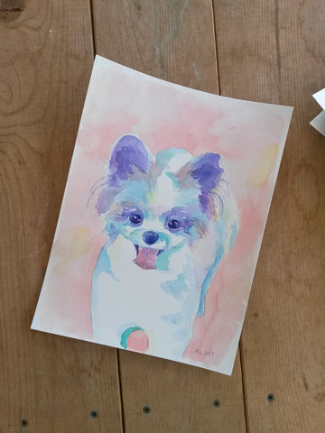 cute pomeranian puppy angelalendz watercolor painting